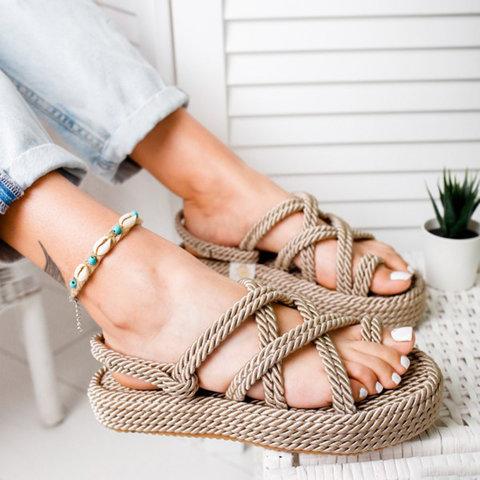 Beige rope sandals