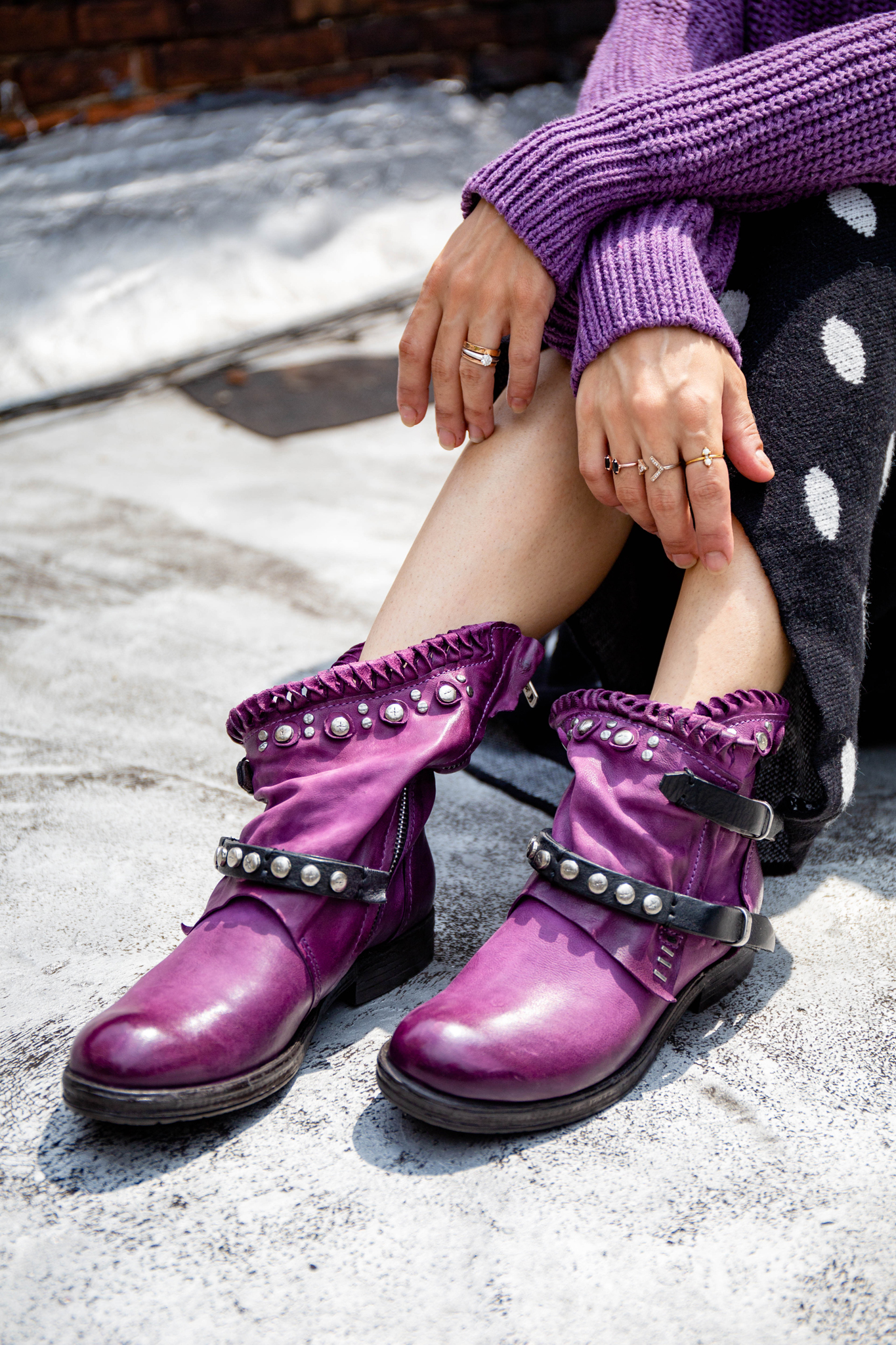 Purple moccasin boots