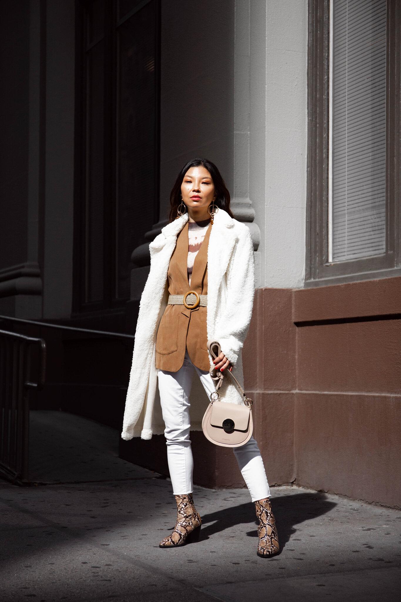 White shearling coat