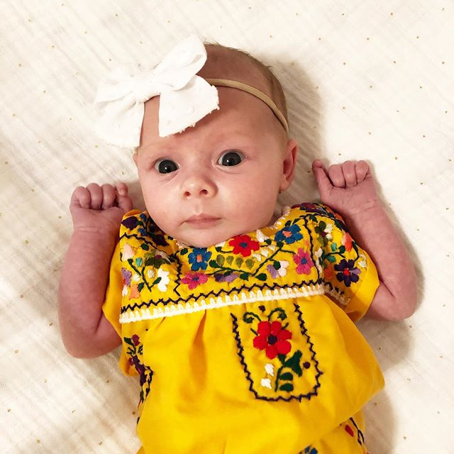 Happy Cinco De Mayo 🌮 . . . #cincodemayo #may5 #tacos #fiesta #3weeksold #maggiesue #childhoodunplugged #mommade #embroidereddress #mexicandress #babygirl #ootd