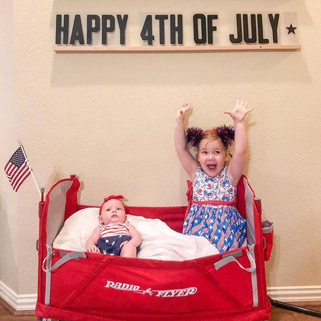 Happy 4th of July from my favorite girls 🎆 . . . #july4 #4thofjuly #Merica #freedom #usa #lucyandmaggie #lovelysquares #patriotic #radioflyer #littleredwagon #babyblingbows #oldnavystyle #letterboard #farmhousestyle #etsy #magicofchildhood #enjoythesummer