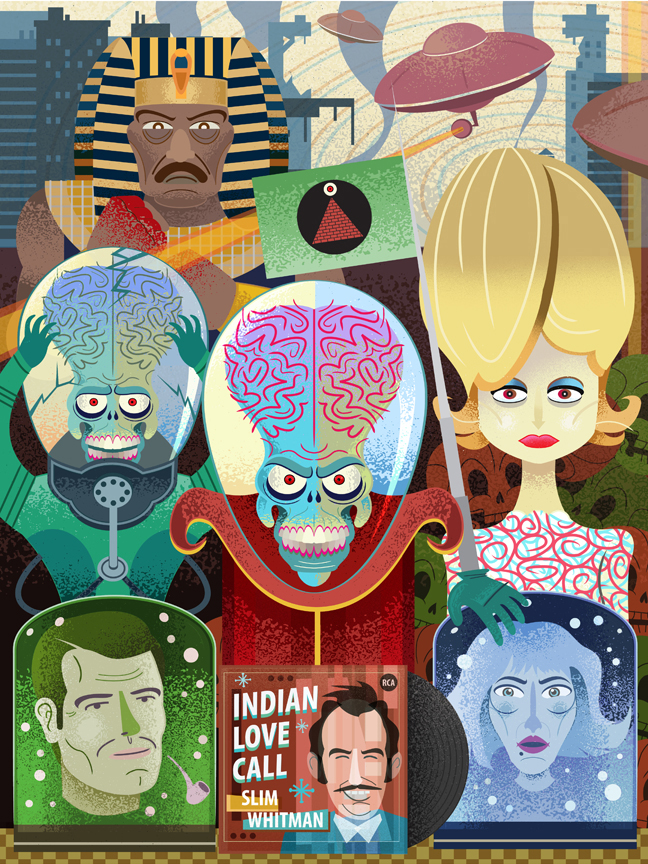 Mars Attacks   I created this poster for Steel City Secret Cinema. It is an event where artists create works inspired by a movie of their choice. I chose Mars Attacks which has a plethora of great characters.  I decided to do this one completely digital. I started off in Illustrator and arranged everything in Photoshop.