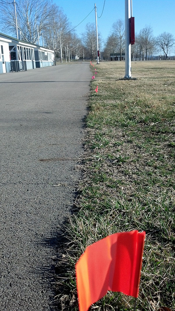 These orange flags really help us to quickly identify space measurements.