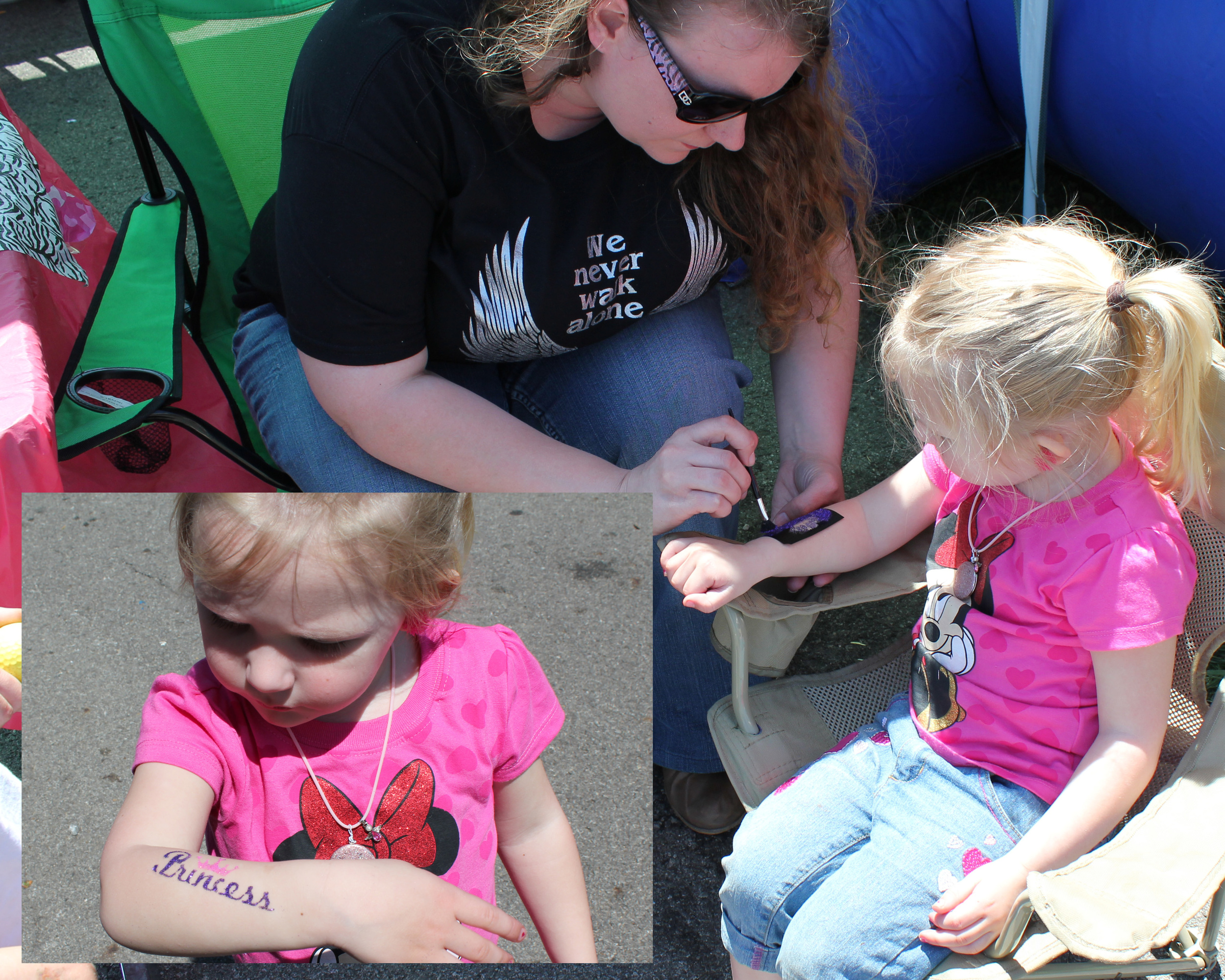 A glitter tattoo tops off this young lady's day after playing in the bouncy room.