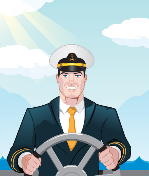Sea Captain illustration created for Webology Marketing.