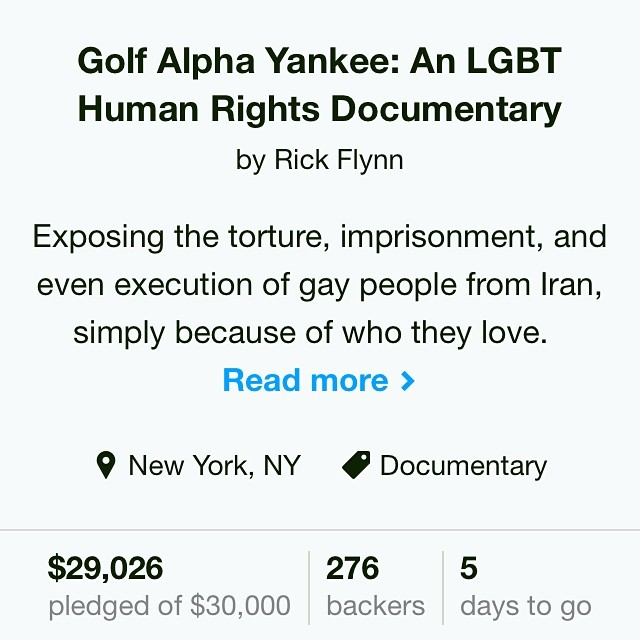 Less than 1k away! #golfalphayankee #indiefilm #fundraising #film #documentary #humanrights #lgbt #gay #iran #middleeast #kickstarter #crowdfunding