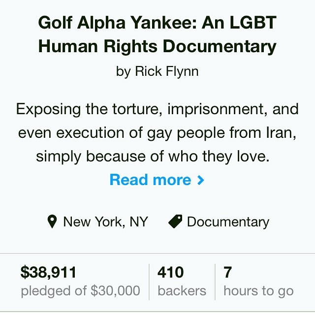 16 backers in 4 hours! It's not too late to join #GolfAlphaYankee! Help give a voice to #lgbt in #Iran and expose the #humanrights abuses committed against them! #middleeast #kickstarter #crowdfunding #fundraising #film #documentary #doc #indiedoc #indiefilm #supportindiefilm #lgbtiq