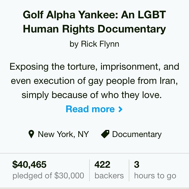 Unbelievable the amount of support we've received! #golfalphayankee #kickstarter #crowdfunding #fundraising #film #indiedoc #indiefilm #iran #middleeast #documentary