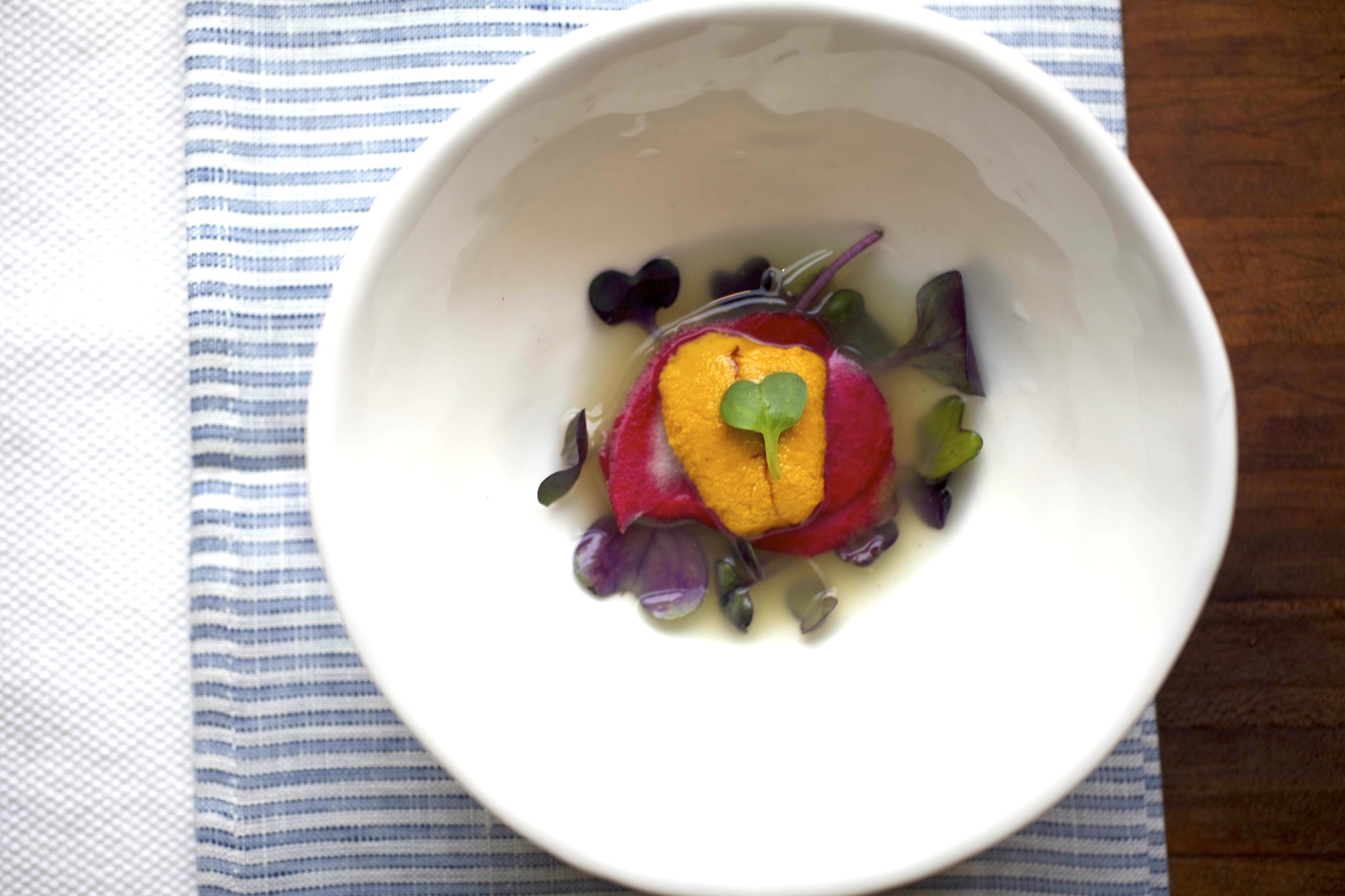 Uni with cucumber broth and radish
