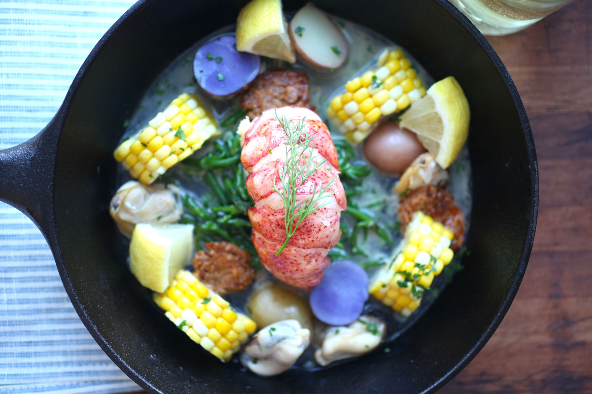 "Butter poached lobster ""boil"""