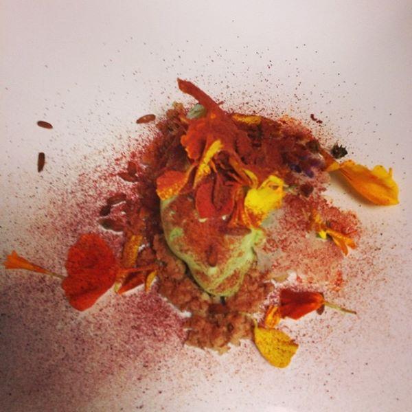 Sorrel sorbet, honeysuckle granita, black walnuts, beet powder, sprouted rye, and flowers. Intermezzo course by Jason Zygmont of 5&10.