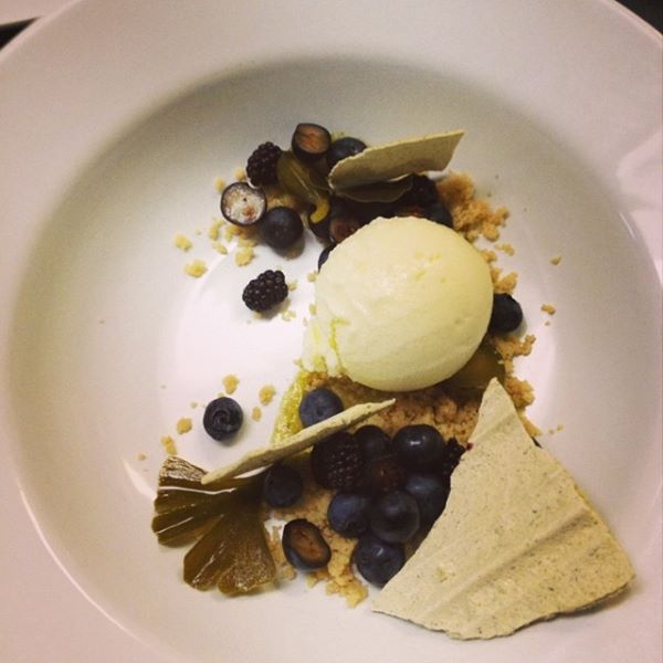 Fig leaf ice cream, gingko meringue, candied gingko, local berries, and spoon sweet by Shae Rehmel of home.made.