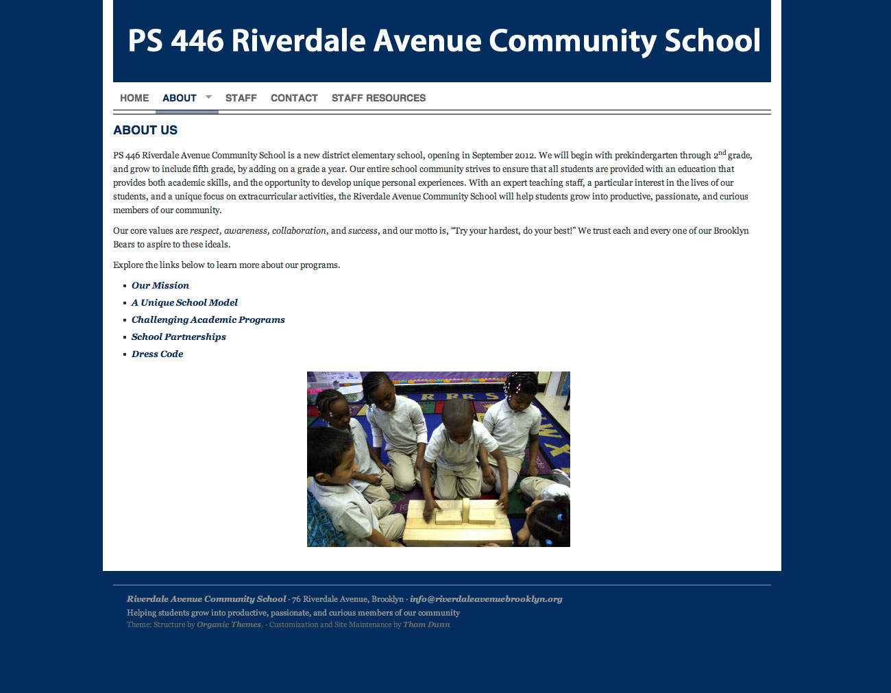 Riverdale Avenue Community School ( riverdaleavenuebrooklyn.org ), managed with WordPress