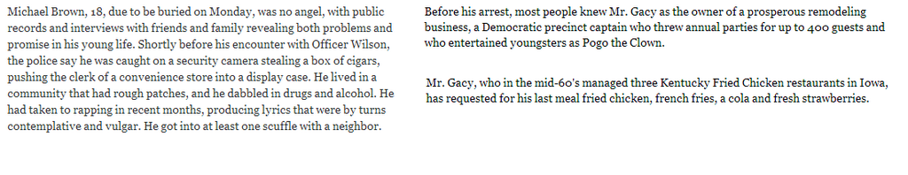 Before his arrest, most people knew Mr. Gacy as the owner of a prosperous remodeling business, a Democratic precinct captain who threw annual parties for up to 400 guests and who entertained youngsters as Pogo the Clown.  Mr. Gacy, who in the mid-60s managed three Kentucky Fried Chicken restaurants in Iowa, has requested for his last meal friend chicken, french fries, a coal and fresh strawberries.