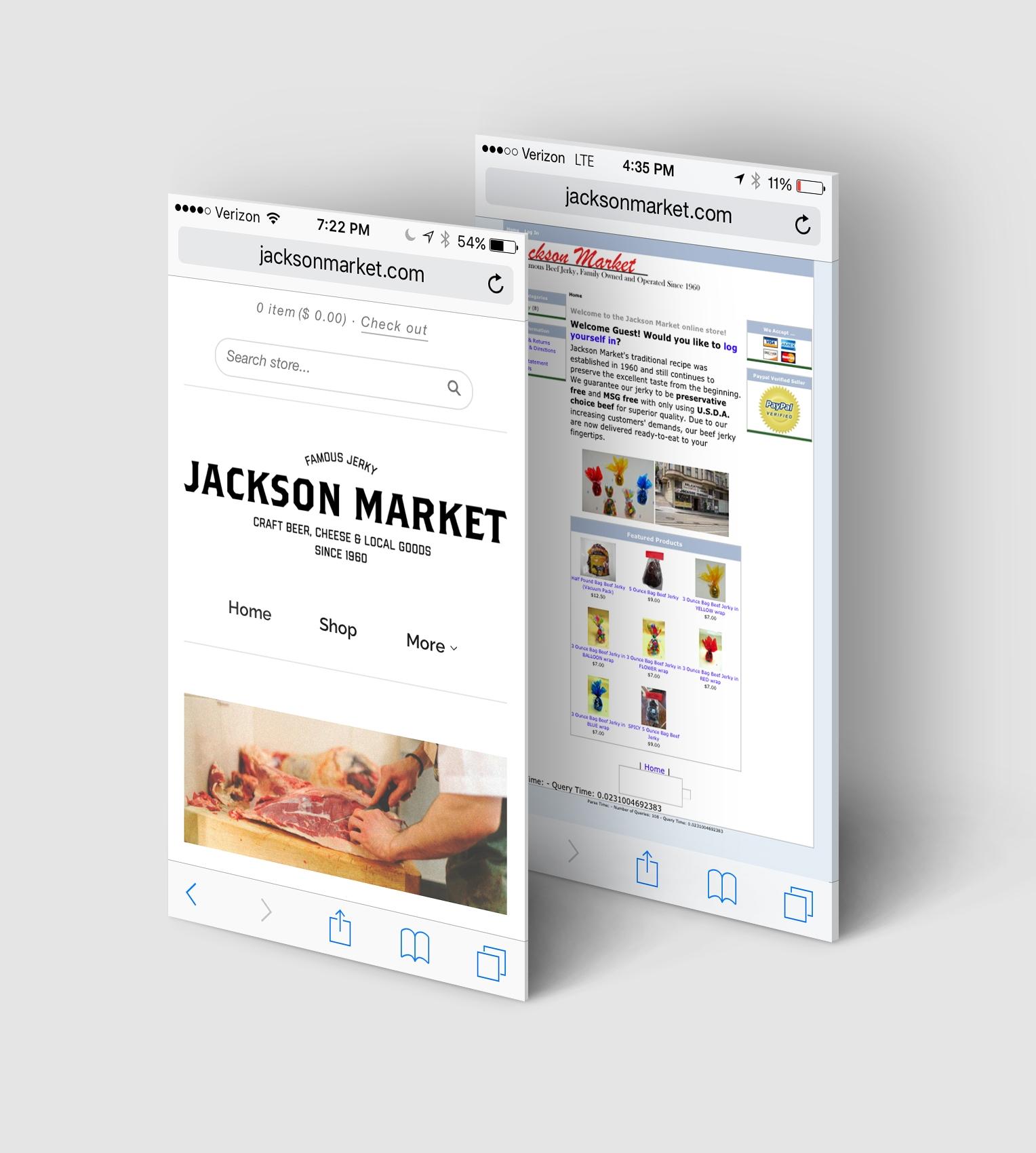 Jackson Market Website, Before & After