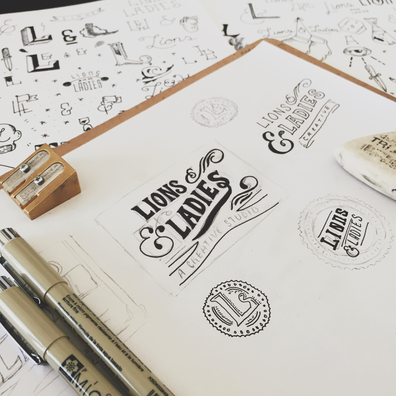 Initial sketches for  Lions & Ladies logo design