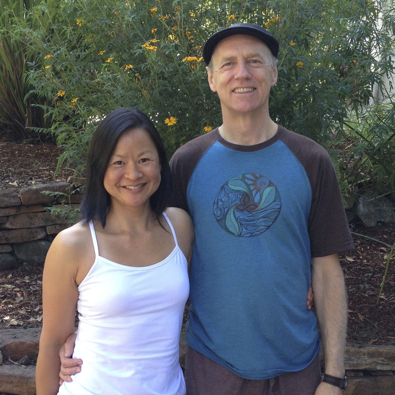 Bernie Clark & Karin at The Land of Medicine Buddha in Soquel, California