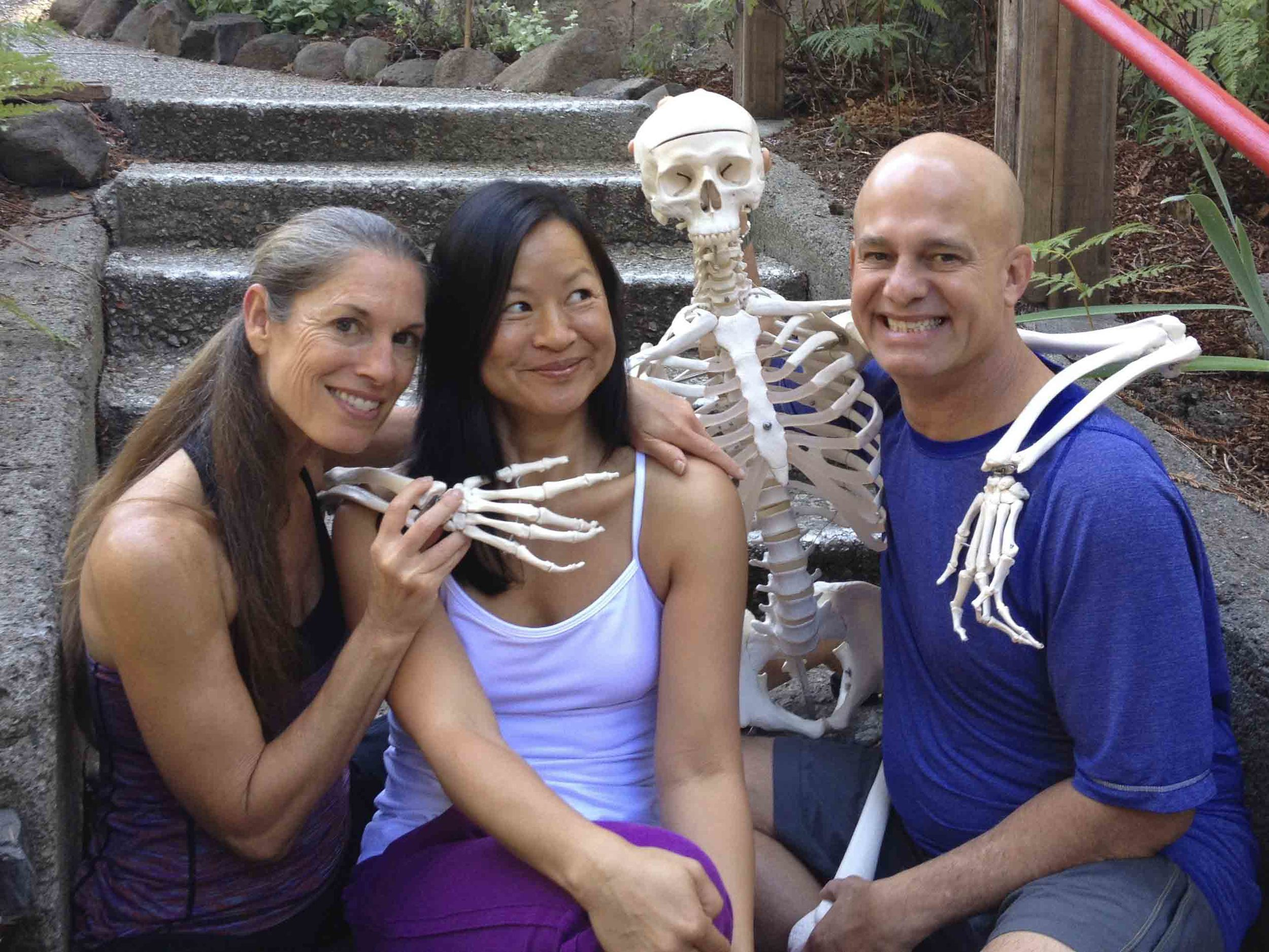 Karin with Paul and Suzee Grilley during her Yin Yoga Teacher Training III at the Land of Medicine Buddha in Soquel, California.