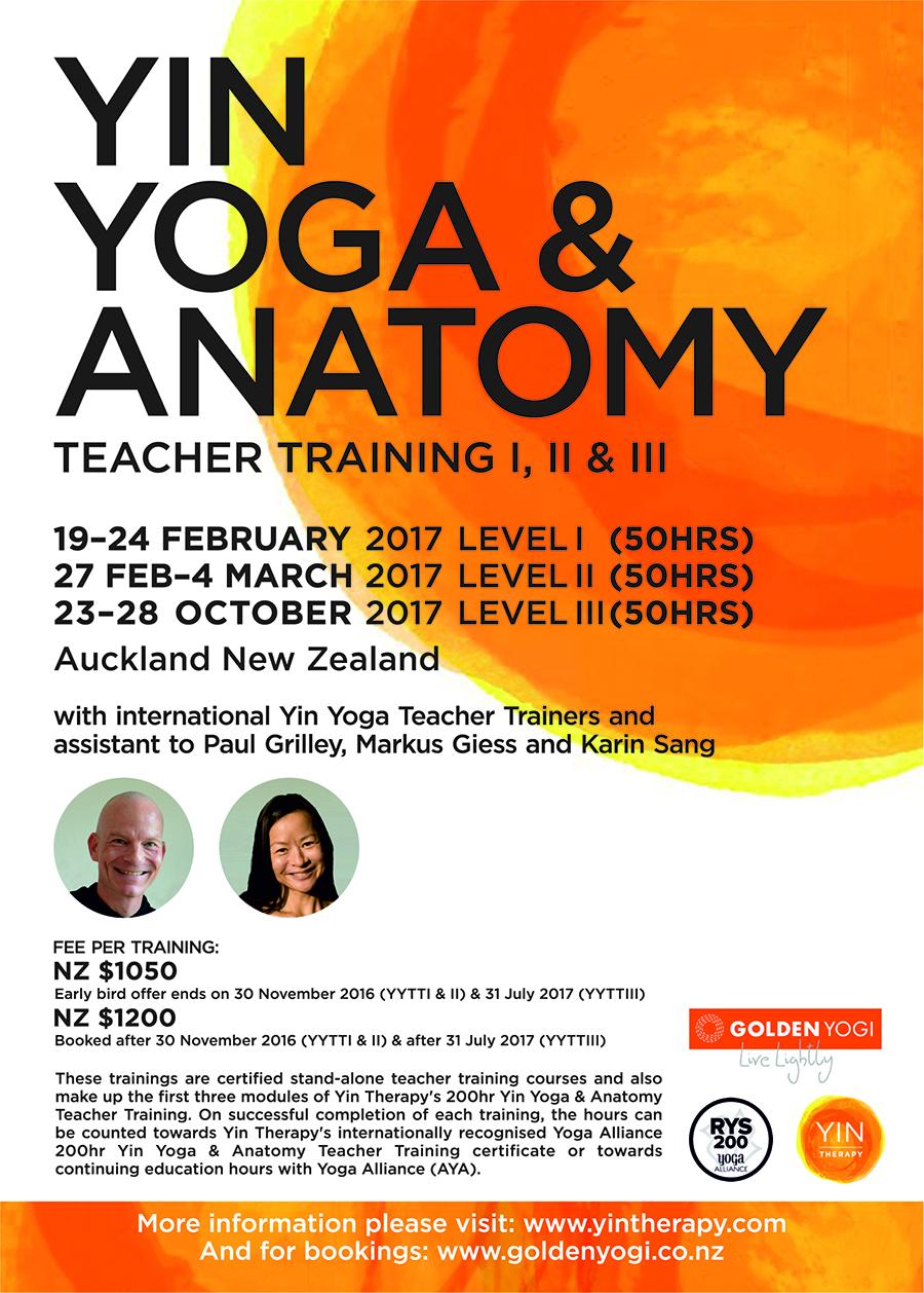 2017 Yin Yoga & Anatomy Teacher Training Poster - Auckland, New Zealand