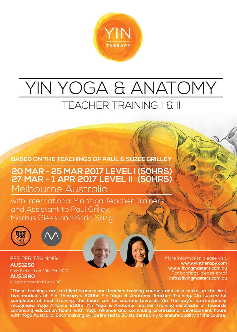 2017 Yin Yoga & Anatomy Teacher Training Poster - Melbourne, Australia