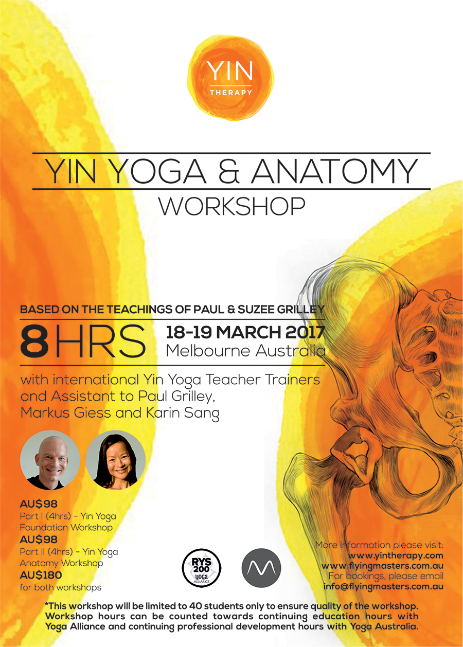 2017 Yin Yoga & Anatomy Workshop Poster - Melbourne, Australia