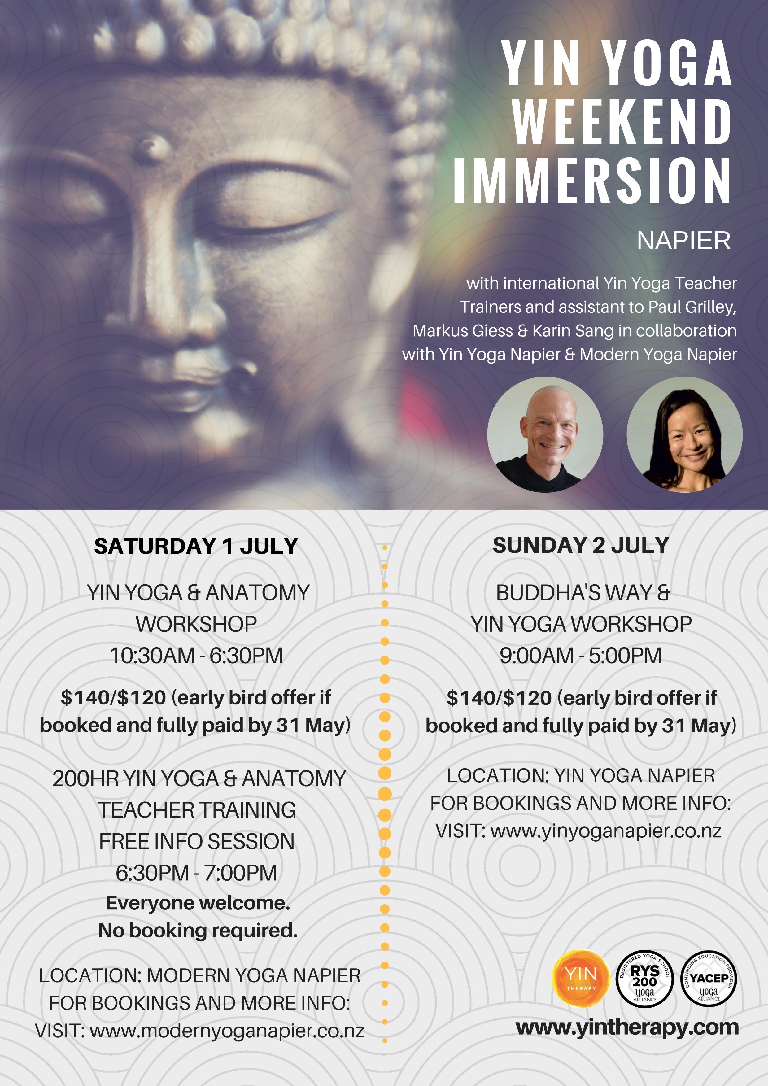 Yin Yoga Weekend Immersion Napier
