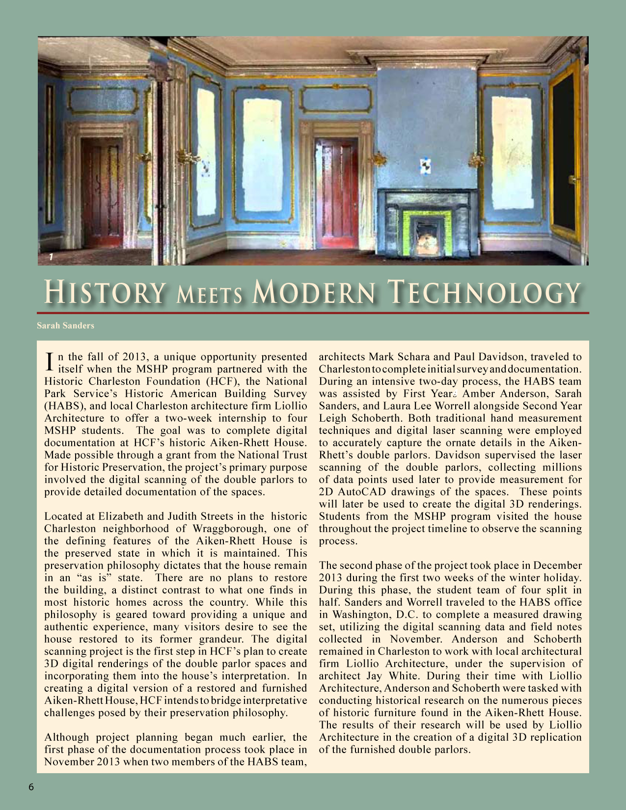 page taken from  292 Preservation Brief , Clemson University/College of Charleston Graduate program in Historic Preservation, Volume 5, Spring 2014, page 8
