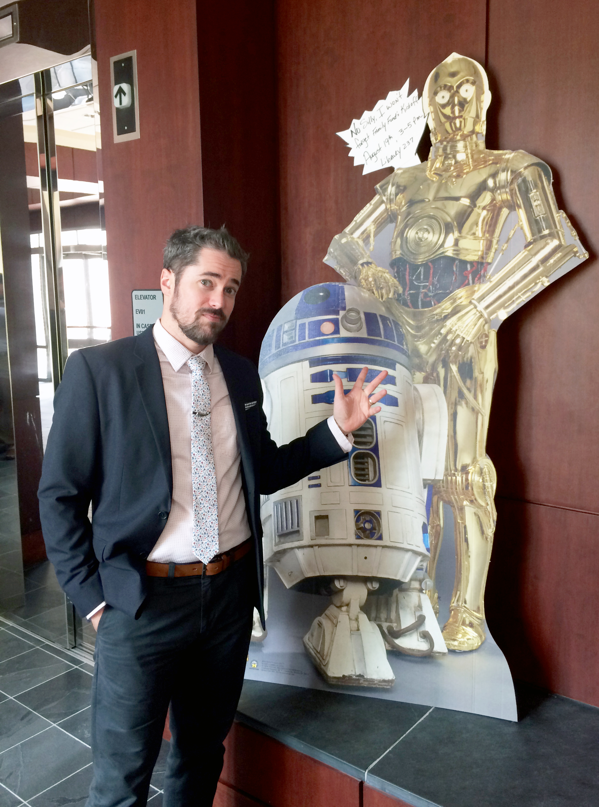 David Dewees, R2D2, C3PO (From left to right)