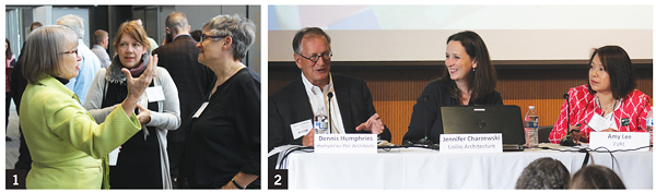 1. FVRL executive director Amelia Shelley (l.) welcomed librarians. 2. Amy Lee (r.) moderated a panel on translating deep community engagement into design with Humphries Poli's Dennis Humphries (l.) and Liollio's Jennifer Charzewski.  Photos by Kevin Henegan