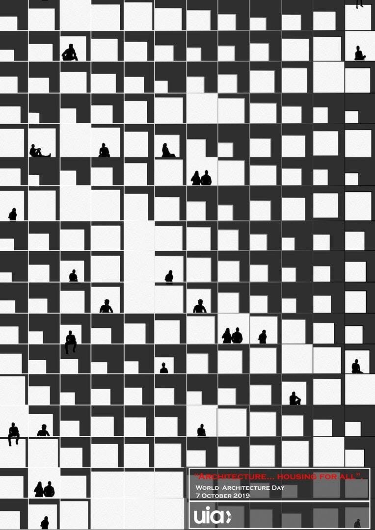 Winning design of the UIA 2019 World Architecture Poster Competition,  Architecture...housing for All  by Huda Gharandouqa (Jordan). Image via UIA/Facebook.