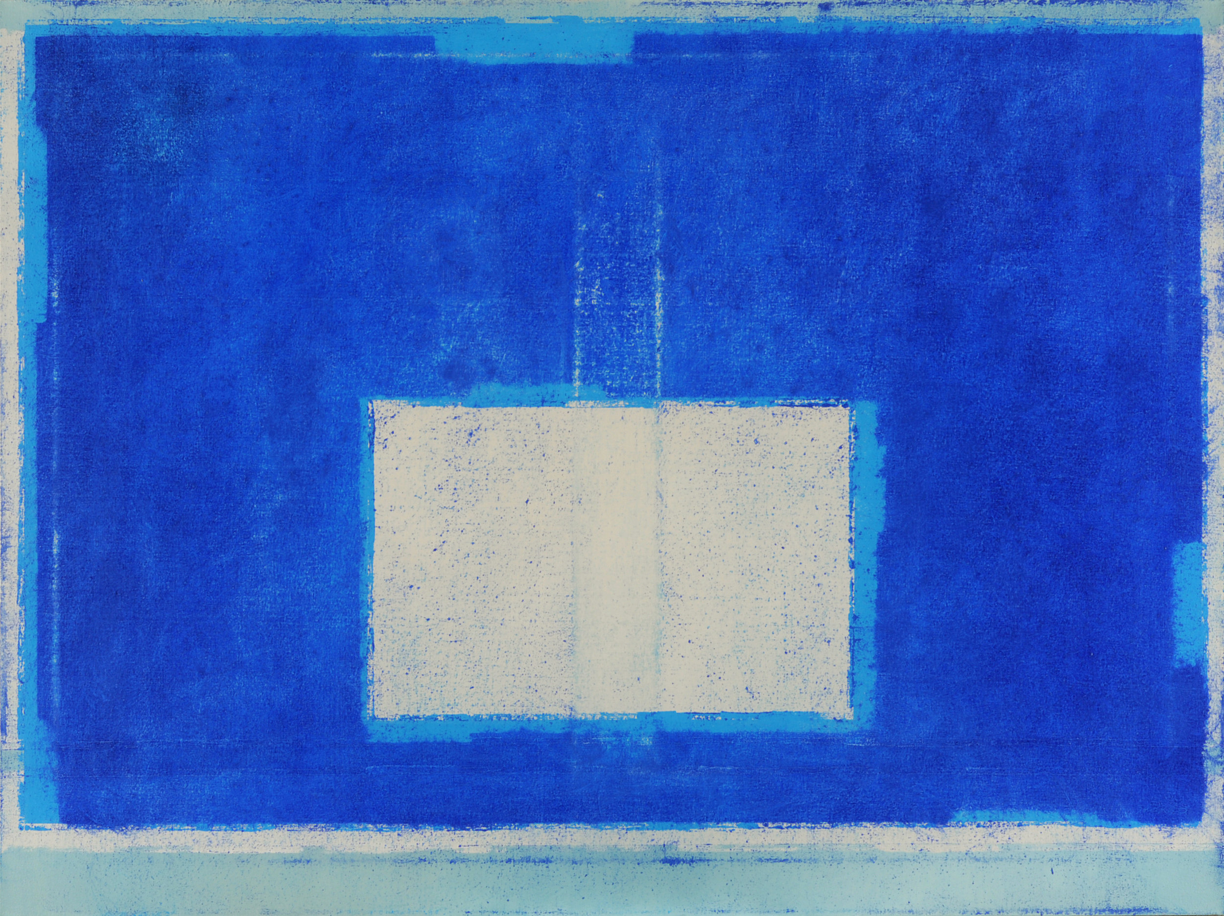 Blue Composition No. 910, 2019, 36 x 48, oil on cotton canvas, silver metal frame |  SOLD