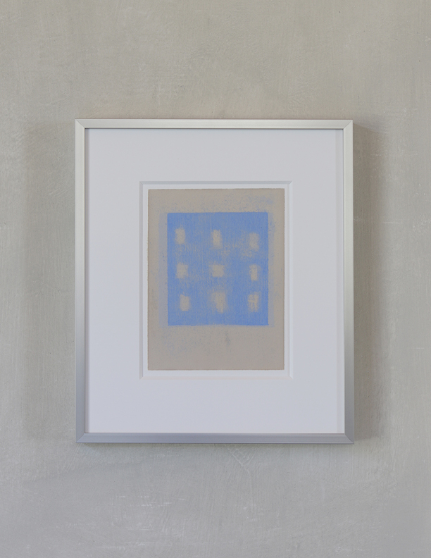 Blue Composition No. 908, 2019, 8 x 6, oil on cotton paper (silver metal frame: 14¼ x 12¼), $400