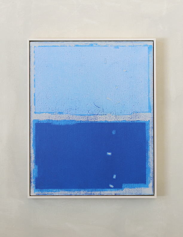 Blue Composition No. 912, 2019, 30 x 24, oil on linen, white wooden frame |  SOLD