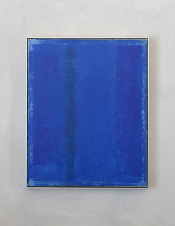 Blue Composition No. 913, 2019, 30 x 24, oil on linen, silver metal frame |  SOLD