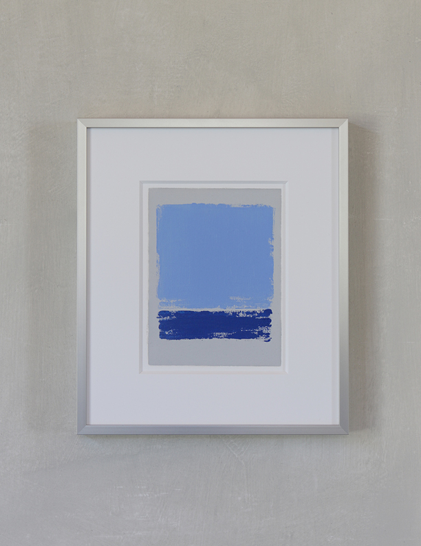 Blue Composition No. 909, 2019, 8 x 6, oil on cotton paper (silver metal frame: 14¼ x 12¼) |   SOLD