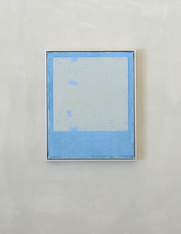 Blue Composition No. 914, 2019, 20 x 16, oil on linen, silver metal frame, $1,300