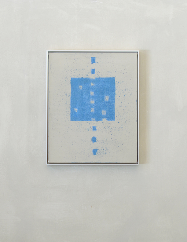 Blue Composition No. 915, 2019, 20 x 16, oil on cotton canvas, silver metal frame |  SOLD