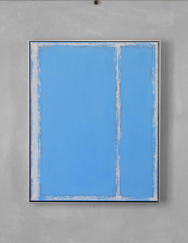 Blue Composition No. 916, 2019, 30 x 24, oil on linen, silver metal frame |  SOLD