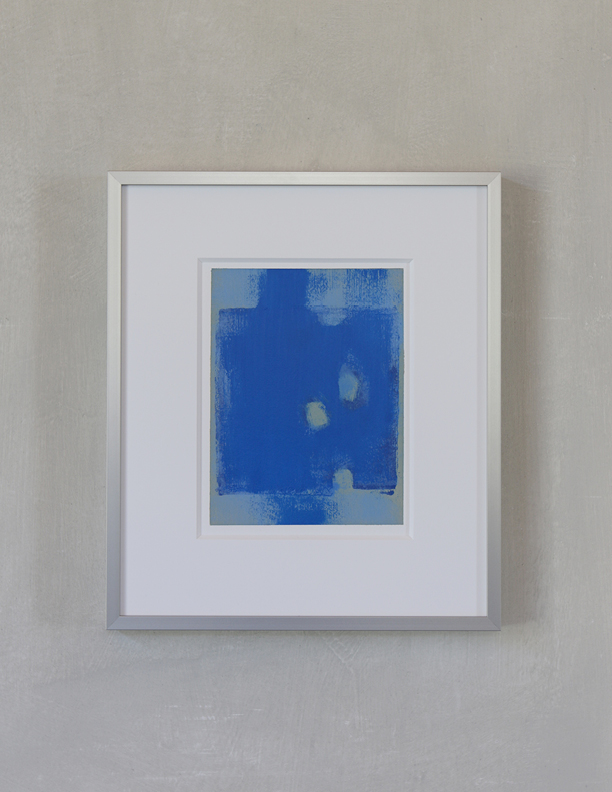 Blue Composition No. 909, 2019, 8 x 6, oil on cotton paper (silver metal frame: 14¼ x 12¼), $400