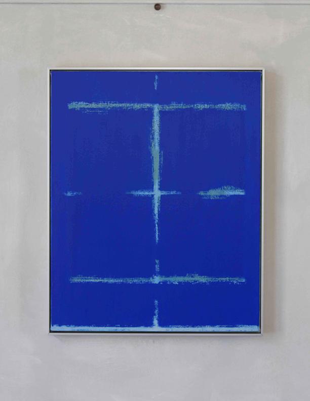 Blue Composition No. 917, 2019, 30 x 24, oil on cotton canvas, silver metal frame, $2,500
