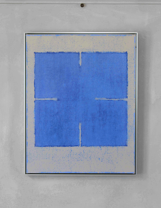 Blue Composition No. 918, 2019, 30 x 24, oil on cotton canvas, silver metal frame |  SOLD