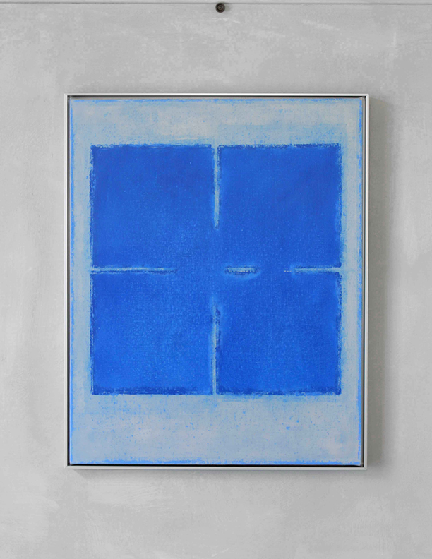 Blue Composition No. 919, 2019, 30 x 24, oil on cotton canvas, silver metal frame, $2,500
