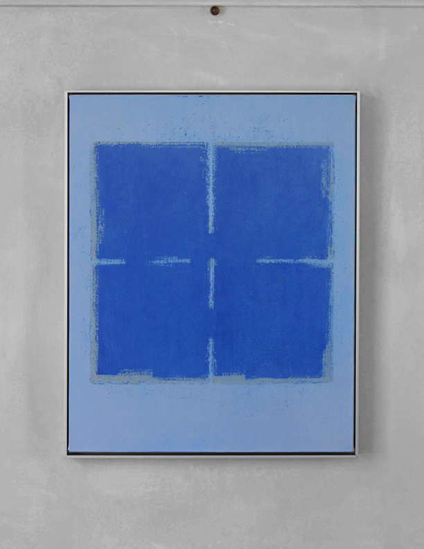 Blue Composition No. 920, 2019, 30 x 24, oil on cotton canvas, silver metal frame, $2,500