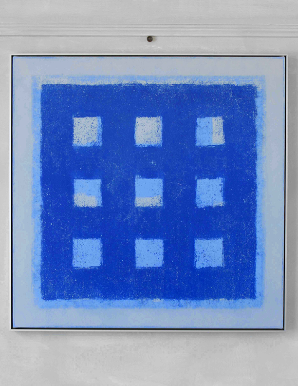 Blue Composition No. 921, 2019, 36 x 36, oil on cotton canvas, silver metal frame |  SOLD