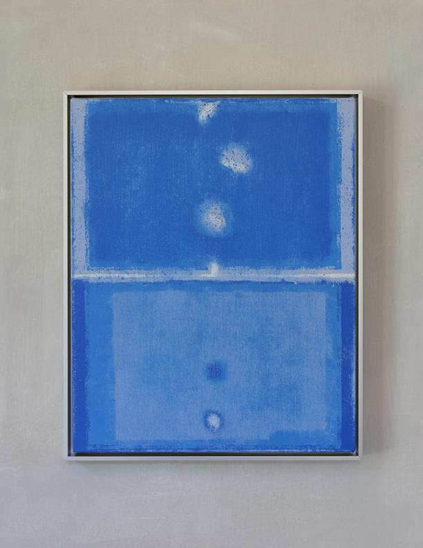 Blue Composition No. 923, 2019, 20 x 16, oil on cotton canvas, silver metal frame, $1,300