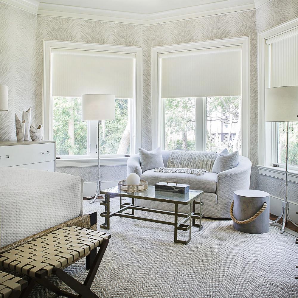 Relaxing guest bedroom overlooking tropical landscape;  Nina Campbell wallpaper for Osborne & Little | Savage Interior Design