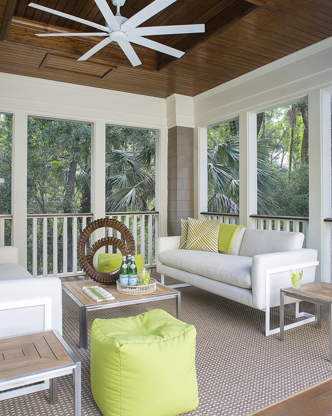 Kiawah Island tropical poolside cabana; Brown Jordan furniture; China Seas fabric; Kingsley Bate; citrus color | Savage Interior Design
