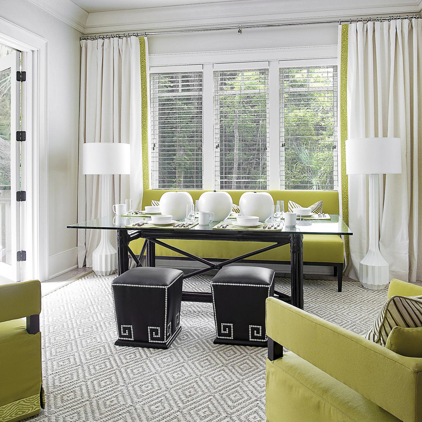White and citrus green breakfast room with dark accents; Loro Piana fabrics; McAlpine Home; Lee Industries | Savage Interior Design