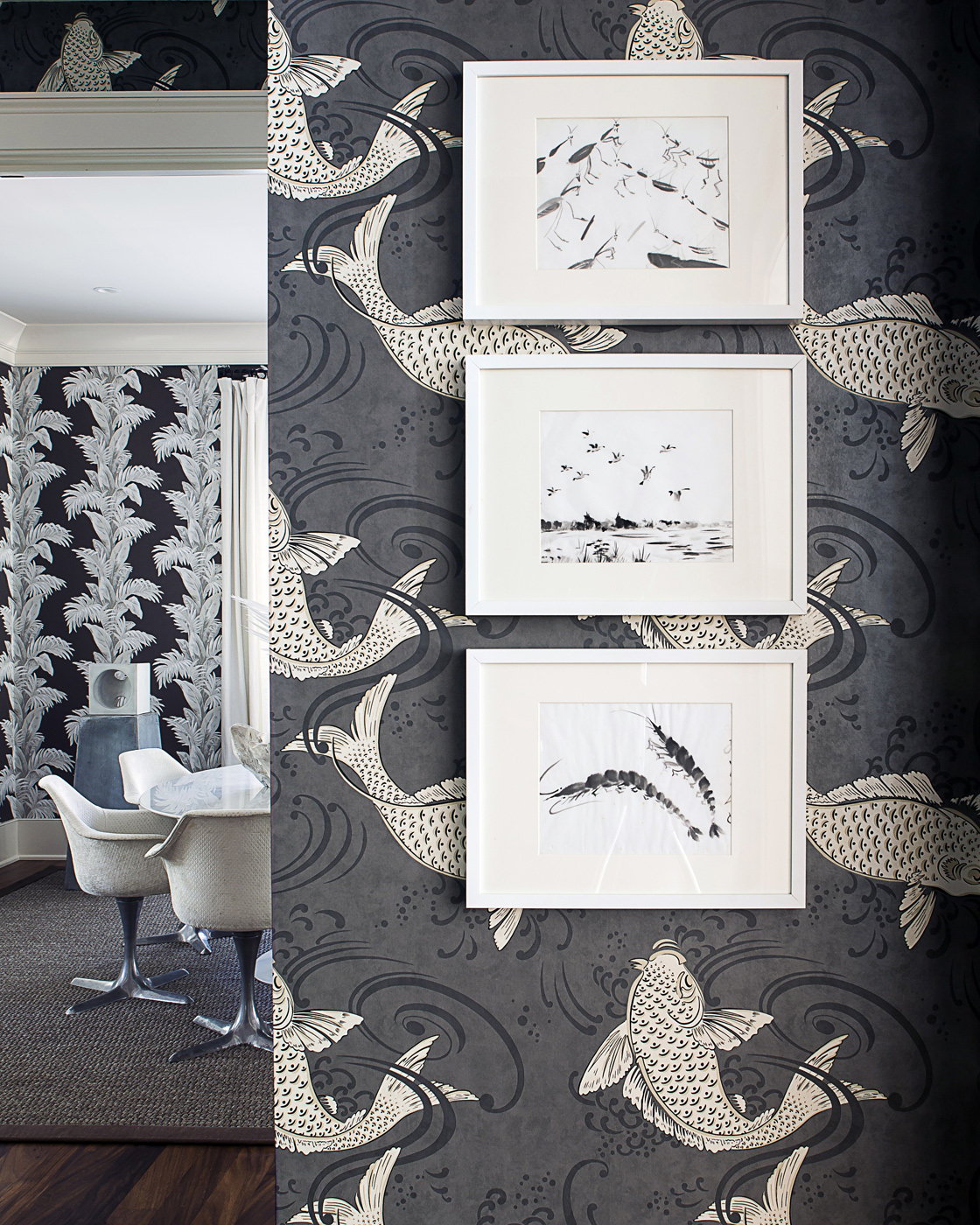 Nina Campbell koi wallpaper for Osborne & Little; coastal wildlife artwork; vacation design; island interior | Savage Interior Design