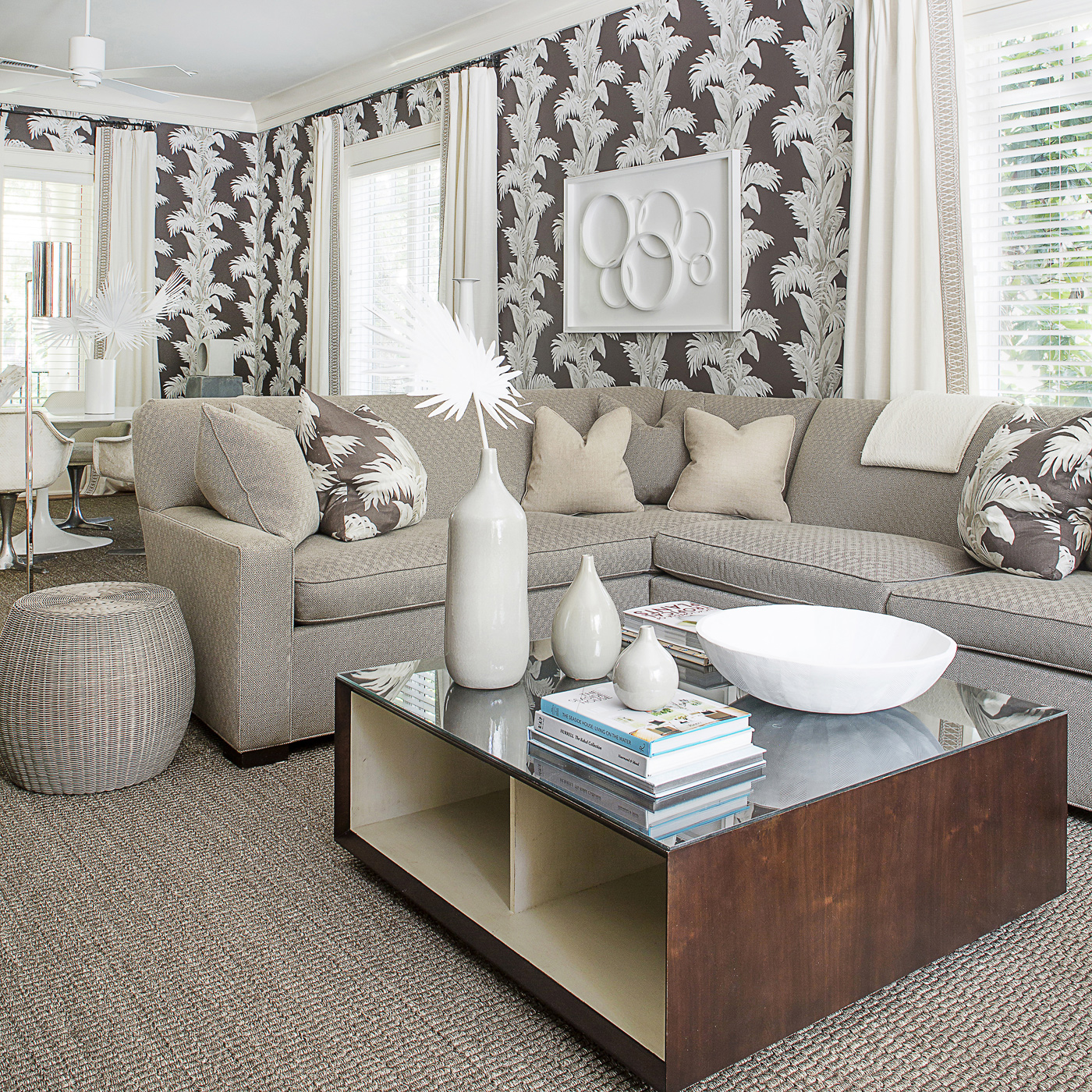 Vacation home den interior design; Hickory Chair sectional; Nina Campbell wallpaper for Osborne & Little | Savage Interior Design